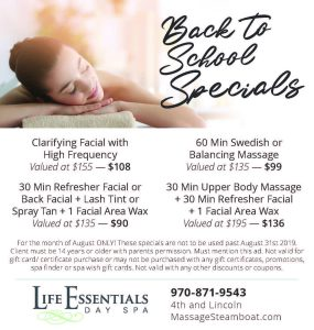 Back to school specials with women getting a massage